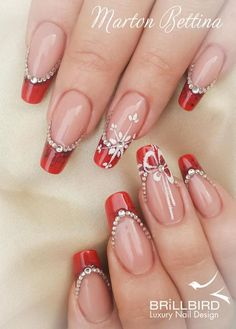 130 festive and easy christmas nail art designs you must try page 1 Xmas Nails, Holiday Nails, Red Nails, Christmas Nails, Red Nail Designs, French Nail Designs, Beautiful Nail Designs, Nail Art Noel, Finger Nail Art