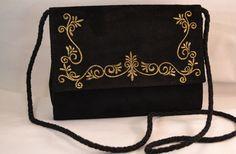 Vintage 80s Diane Von Furstenberg Negro Suede bolso de tarde con bordado del oro