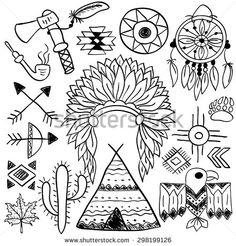 Hand drawn doodle vector elements set (vol. 5 of 9). Native american symbols: indian chief headdress, dream catcher, bow, tomahawk, arrows, wigwam. Black silhouettes isolated on white.