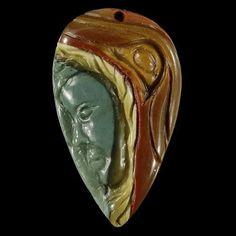 Natural Hand Carved Face Succor Creek Jasper Pendant Bead