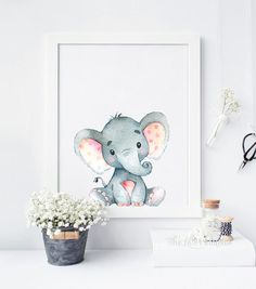 Elefant Print Elephant Kunst Elephant von TheLilPrintables auf Etsy