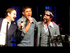 At the 2013 Las Vegas Supernatural Convention, this was at the end of Jared and Jensens panel and when they were exiting the stage Jensen sang a few bars of The Boys Are Back In Town with Richard Speight Jr. and Rob Benedict.