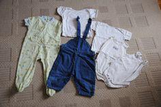 6.zsák / 2 : 9-12 hó farmer kertésznadrág: 700,-Ft /// világoszöld ruhdalózó: 400,-Ft  Fehér pólókat, bodykat elvitték.