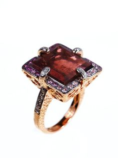 Square Pink Tourmaline Ring ~ reminds me of my aunt joyce for some reason.