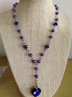 Beautiful Swarovski and pearl purple necklace by Juniper Goods