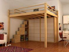 idée de décoration de loft et lit avec mezzanine et dressing