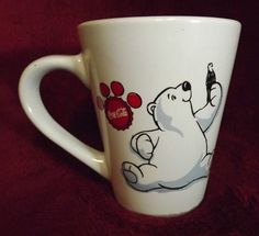 2001 Collectible Coca-Cola Mug Polar Bear Holding Coke Bottle Gibson Housewares