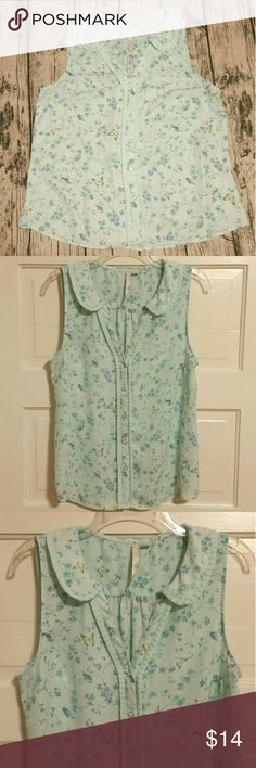 LC Lauren Conrad Sleeveless Blouse EUC! Size Large LC Lauren Conrad blouse. Sleeveless with an Adorable collar, and buttons up the front. Pretty blue with butterflies, birds,  and flowers. Smoke free home! LC Lauren Conrad Tops