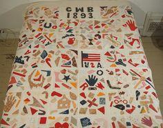 applique quilt. CWB 1893. like a mosaic tile quilt, but with really thick grouting...