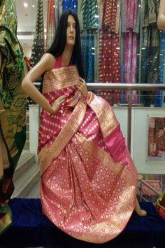 Pink Banarasi Saree from Sriniketan, Kolkata