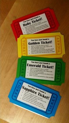 "Tickets hidden in library books- My version of the golden tickets has different colors to use in different genres. These will be hidden in library books that have not been checked out in a while. The green ones will encourage the students to try a new book too. Cute idea only ""an Emerald Ticket."""