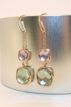 Pink gold earrings set with purple and green amethyst and rose quartz. Gold Earrings, Drop Earrings, Pink And Gold, Purple, Ring Watch, Store Hours, Rose Quartz, Custom Jewelry, Earring Set