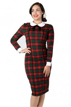 Collectif Lisa Noëlle Check Pencil Dress