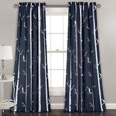 """Amazon.com: Lush Décor Bird On The Tree Curtains Room Darkening Window Panel Set for Living, Dining, Bedroom (Pair), 84"""" L, Navy: Home & Kitchen"""