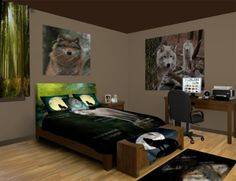 Wolf Tracks Bedroom Theme featured at http://www.visionbedding.com/Wolf-Tracks_Bedroom-rm-14119  #WolfTracksTheme, #WolfBedroom, #CustomBedroom