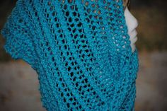 """A Wild Turquoise Blue Hand Knitted Lace Fashion Scarf      14"""" x 72"""" #Acrylic"""