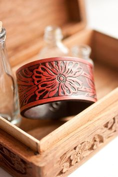 Leather Cuff Bracelet - Red Wine Floral Leather