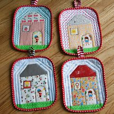 Cute house potholders.  Tutorial here:  http://fredashive.blogspot.com/2009/01/doll-house-potholder-tutorial.html