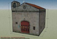 Maqueta de papel de la Capilla de San Damián y San Cosme (Ourense, España)