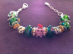 Pink pig European bracelet by InHogHeaven on Etsy