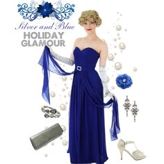 Cobalt blue and silver outfit for holiday parties. Strapless blue chiffon gown with silver accessories is a classic glam look for special seasonal events. Old Hollywood Style, Old Hollywood Glamour, Chiffon Gown, Strapless Dress Formal, Silver Outfits, Silver Accessories, Cobalt Blue, Holiday Parties, Vintage Christmas