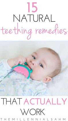 Looking to provide your little one with relief from their teething pain the natural way? Check out these 15 natural teething remedies that actually work. Natural Teething Remedies That Actually Work - The MillennialSAHM CounselingMama {Mo Baby Teething Remedies, Teething Relief, Natural Teething Remedies, Natural Remedies, Teething Babies, Herbal Remedies, Health Remedies, New Parents, New Moms