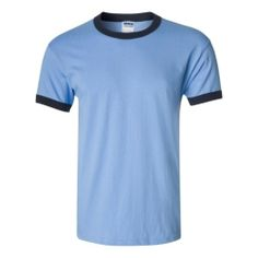 Carolina Blue Navy Ultra Cotton Ringer T-ShirtAS LOW AS $5.77 PRINTED by Gildan  6.1 oz., pre-shrunk 100% cottonSolid color set-on rib collar and cuffsDouble-needle stitched neckline, bottom hem and sleeves