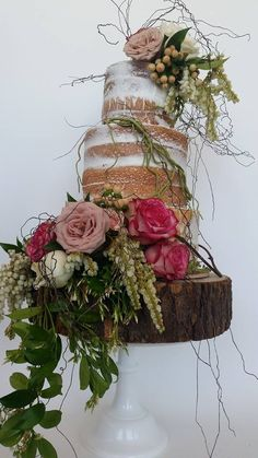 Beautiful Cake Pictures: Colorful Naked Floral Wedding Cake - Colorful Cakes, Flower Cake, Wedding Cakes -