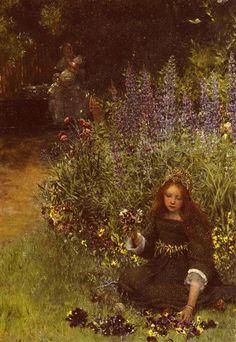 Lady Laura Teresa Gathering by Sir Lawrence Alma-Tadema. Romanticism. portrait