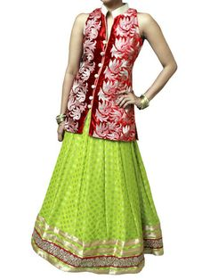 Pista green and Red indowestern Lehenga set | Sweta Sutariya