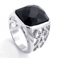 Trying to impress tomorrow's date, but not sure how? Check out our new jewelry items. This ring designed for men and woman features a Class A Titanium Black Onyx Ring, Black Silver, Mens Ring Designs, Meteorite Wedding Band, Mens Stainless Steel Rings, Cross Patterns, Wood Rings, Size 10 Rings, Metal Jewelry