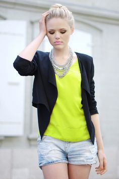 neon yellow top, jacket, necklace, jean shorts... cute.