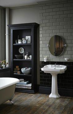lavabo colonne blanc et meuble salle de bain noir
