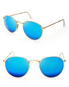 Ray-Ban Round Mirrored Polarized Sunglasses | Bloomingdale's
