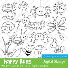 Are you looking for cute high quality images to use in your projects? You've come to the right place! You can print these digital stamps to create coloring pages for your party, educational material, paper crafts, watercolor and decorative painting and more! PLEASE TAKE A MOMENT