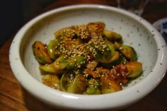 Brussel Sprouts - house bacon, sesame, kimchi sauce $9 at @BaoBei1 by @chefjwatanabe #sidedish #Vancouver #Chinatown #ModernChinese #FMFBaoBei