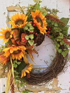 Hey, I found this really awesome Etsy listing at https://www.etsy.com/listing/248211088/fall-wreath-sunflower-wreath-front-door