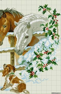Gallery.ru / Фото #6 - лошади - zhivushaya Cross Stitch Horse, Cross Stitch Animals, Christmas Cross, Quilting Designs, Cross Stitching, Needlepoint, Cross Stitch Patterns, Diy Crafts, Horses