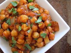 Quick curried chick peas. I just made this for dinner and it is one of my fav. meals I've ever made. TRY IT!