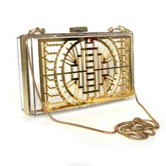 Or miroir Transparent Boîte embrayage - ressort embrayage, embrayage or, embrayage de style Art déco, Vernis sac à main, sac à main Transparent,