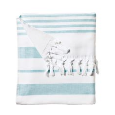 Fouta Beach Towel – Aqua | Serena & Lily -- cloth on one side, terry on the other!