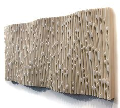 "Erosion: Wave 1 (side view) — Jessica Drenk PVC pipe on wood frame, 60"" x 28"" x 5"". 2012"