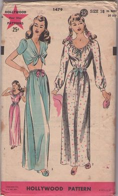 Hollywood 1479 Vintage 40's Sewing Pattern GLAMOUR GIRL Film Starlet Tied Midriff Pajamas Top, Ribbon Drawstring Long Skirt and Scoop Neck Vanity Fair Style Nightgown Set #MOMSPatterns