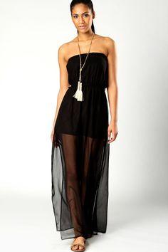 Talia Bandeau Maxi Dress With Side Splits