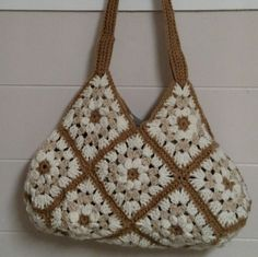 Beige Granny Square Purse by HandmadeByMeAndDee on Etsy