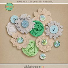 down the lane (buttons & blooms) by sahlin studio 30% off through 3/31/14!