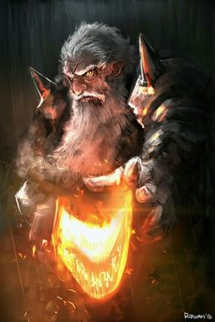 male dwarf with flaming sword