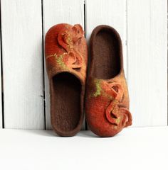 Women house shoes  brown orange felted wool slippers  by AgnesFelt, $66.00