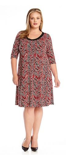 PLUS SIZE DRESSES RED BLACK AND WHITE PAINTED CHEVRON  DRESS #Plus #Size #Dresses #Fashion #Red #Black #White #Chic #Stylish #Holiday_Dresses #Plus_Size_Dresses