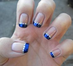 French Manicure Variation - Dark blue with silver dots. I would do gold dots instead for my nautical wedding Blue And Silver Nails, Blue Gel Nails, Royal Blue Nails, Dark Blue Nails, Gold Nails, French Nails, Blue French Manicure, Silver Nail Designs, Simple Nail Designs